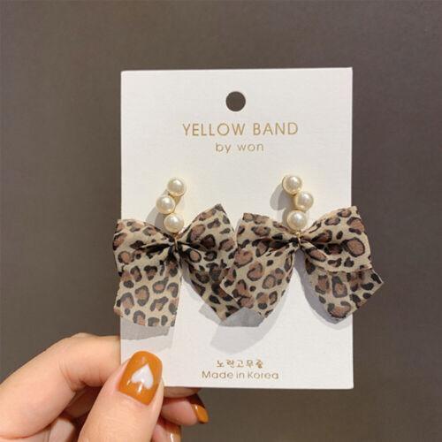 Korean Pearl Chiffon Leopard Bowknot Drop Earrings Women Sweet Jewelry Earings