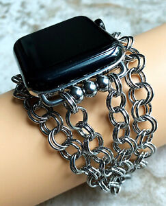 Double Round Links Chain Bracelet Band for Apple 38 40 42 44mm Watch All Series