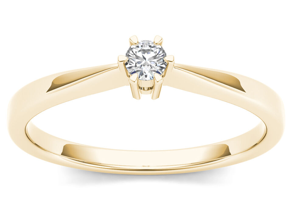 IGI Certified 10k Yellow gold 0.1 Ct Diamond Solitaire Engagement Ring