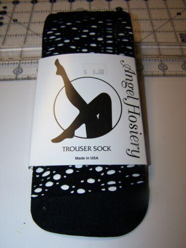 Angel Hosiery Trouser Socks Black Circle Net Style #4357 One Size Fits Most