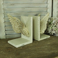 Cream Ornate Angel Fairy Wings Bookends Office Bedroom