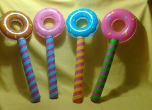 4 jumbo Lollipop Suckers Inflate inflatable Birthday donut holes candyland