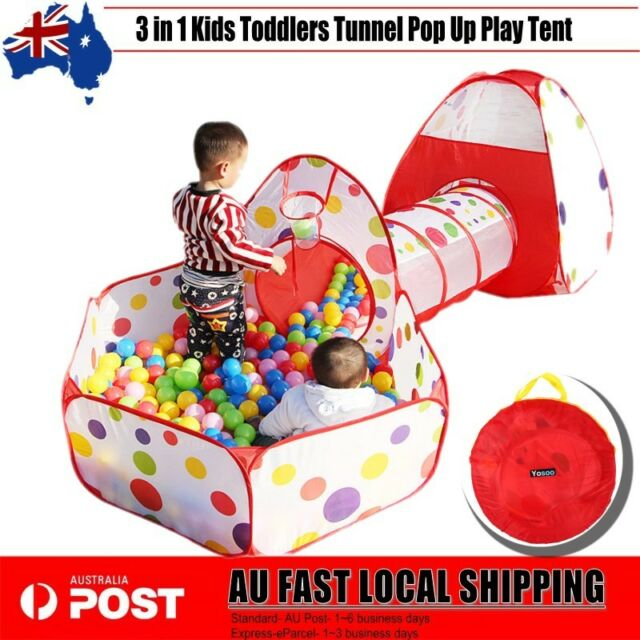 New 3in1 Play Tent Kids Toddlers Tunnel Set Pop Up Children Baby Cubby Playhouse