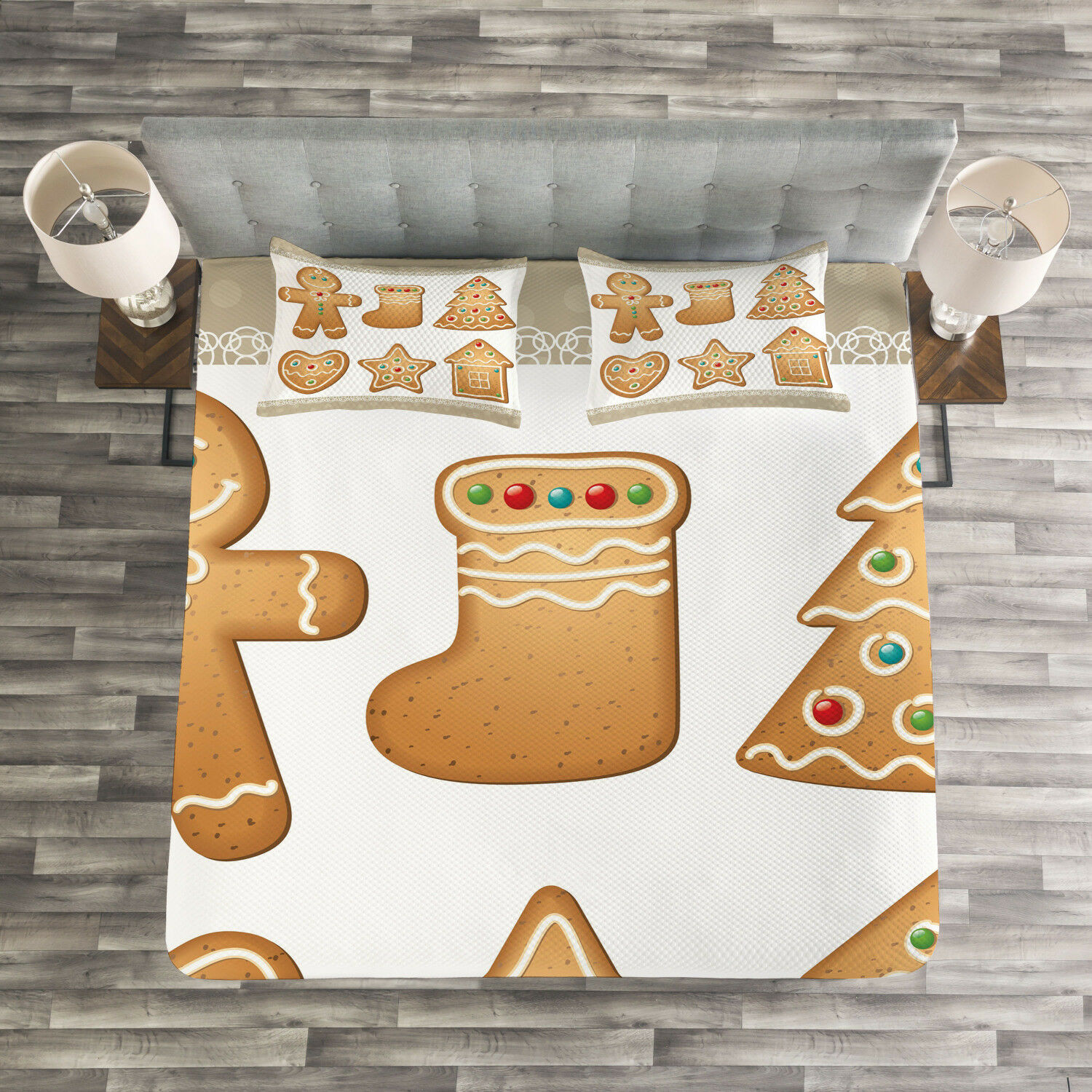 Gingerbread Man Quilted Bedspread & Pillow Shams Set, Cute Pastry Print