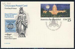 Tarjeta Postal Paisaje Urbano 20C 1989 EE. UU. primer día cubierta Scott UX138 Artmaster WSE DC