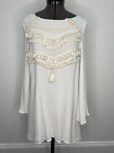 Indikah-Boho-Cream-Tunic-dress-With-Tassels-Size-10-VGUC-Casual