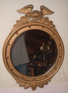 Antique Federal Eagle Wall Mirror Large Carved Wood