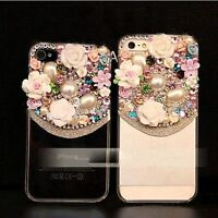 For iphone 6 6s plus 5c 5 4 Luxury 3D bling flower pearl diamond case cover rth