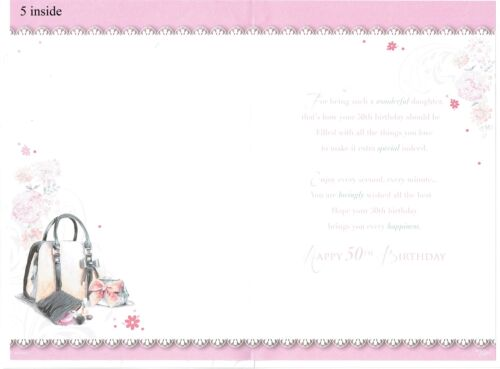 AGE 50 Sister Mum Wife Daughter Friend 50th BIRTHDAY CARD ~ Open