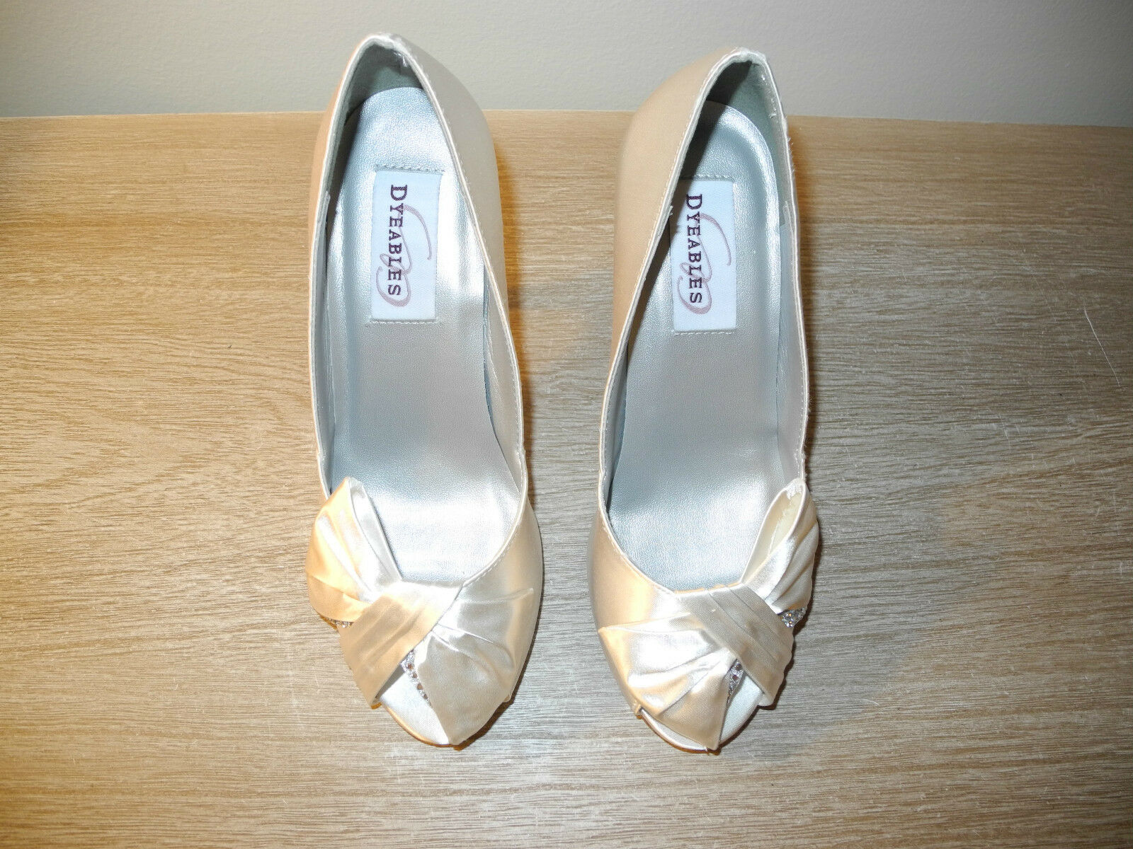 New Dyeables Liv WEISS Satin Dyed Open Toed Heels With Rhinestone Bow Bridal