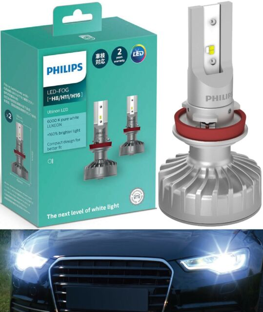 Philips Ultinon LED Kit White 6000K Fog Light H11 Two Bulbs Upgrade Replacement