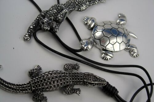 etc Panther cocodrilo Lange cuero cadena con gran animal motivo tortuga