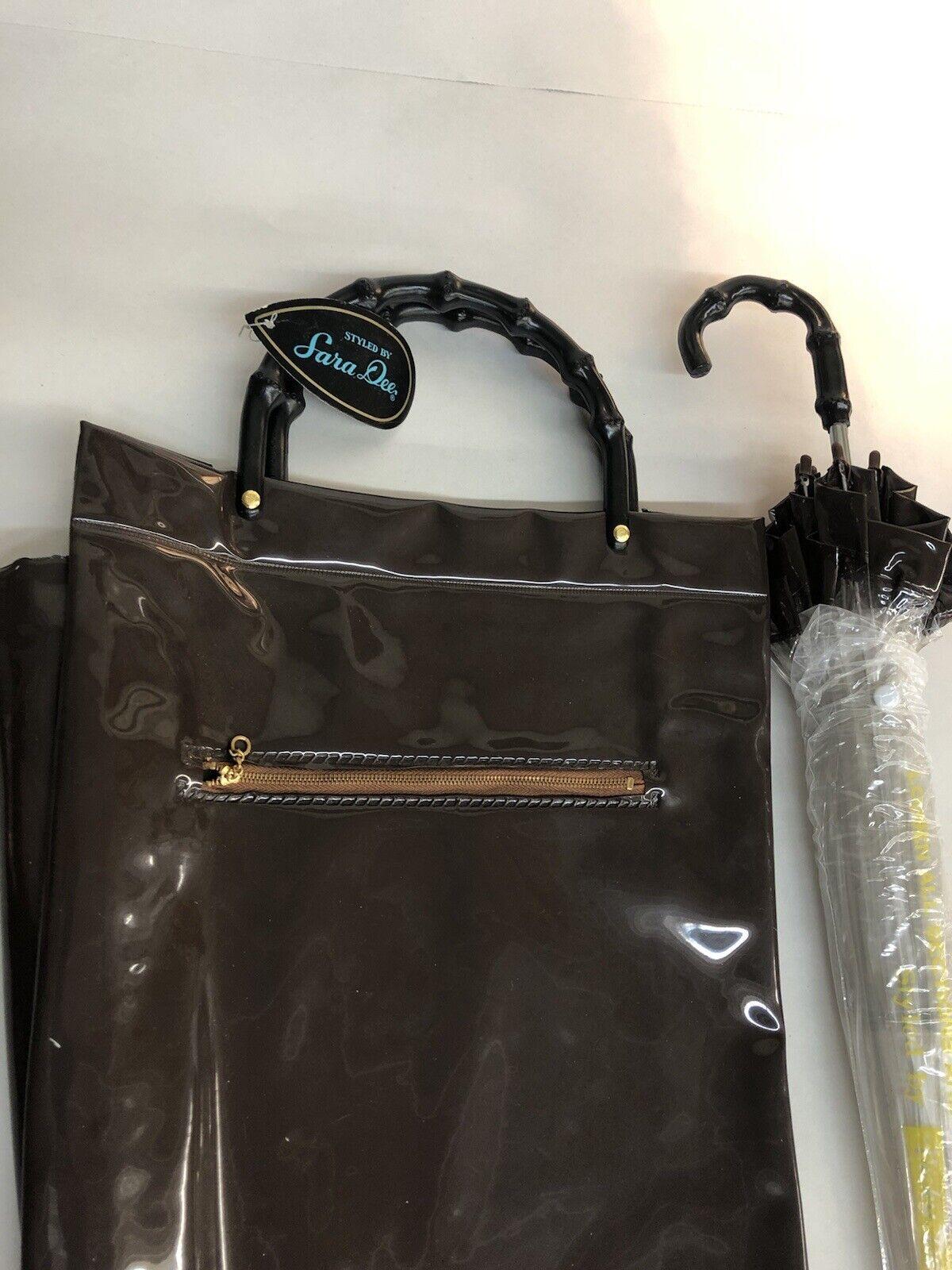 Vintage 60-70's Brown purse handbag carrying case… - image 7