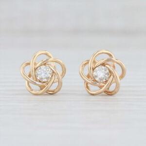 Diamond-Knot-Stud-Earrings-14k-Yellow-Gold-Solitaire-Orbit-Studs