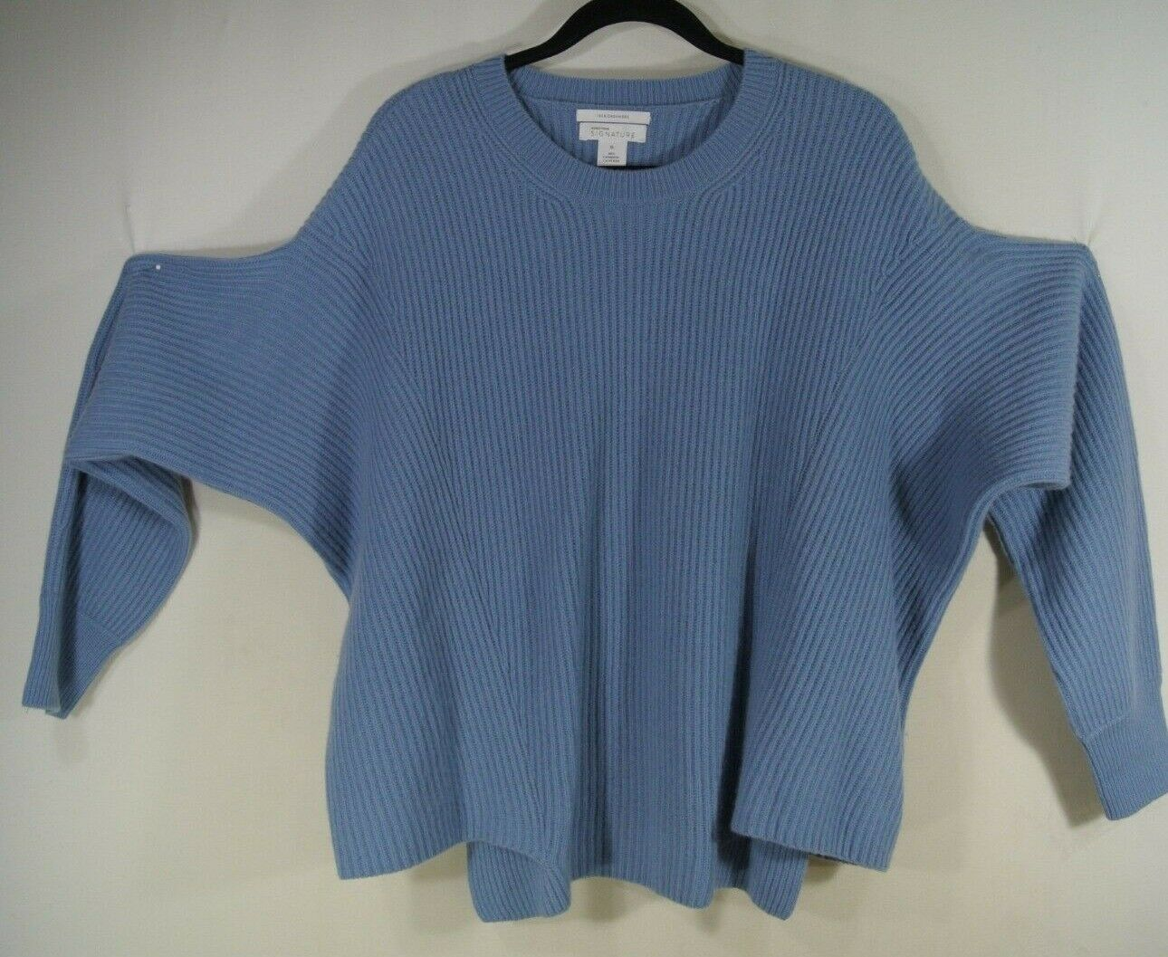 NEW Nordstrom Signature Rib Knit Cashmere Sweater in bluee - Size XL