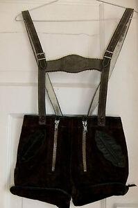 Suesse-Kinder-Vintage-Echtleder-Lederhose-mit-Ledertraegern-Gr-104