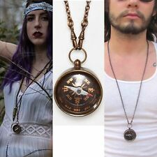 Compass necklace hand oxidized brass pocket watch chain fob men's jewelry