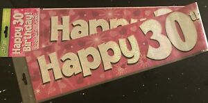 30th birthday banner pink sparkly 2 7m will split into 3 30th