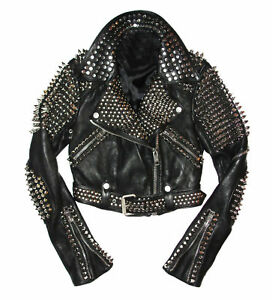 77c07b78a4e8 New Men style Leather Rock Punk Style studded Spiked Biker Moto ...