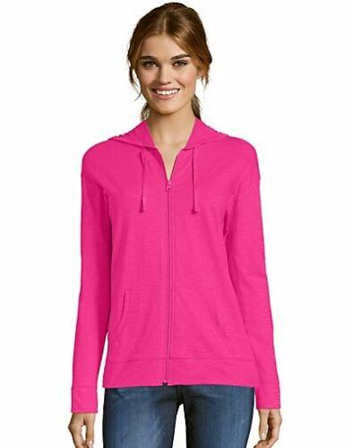 Hanes Women/'s Hoodie Lightweight Pockets Slub Jersey Full Zip Sweatshirt Casual