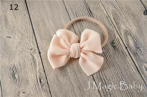 Newborn Girl Baby Nylon Waffle Tie Messy Mini Bow Head Wrap Turban Headband Hair