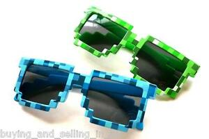 Retro 8 Bit CREEPER Blocks PIXEL Nerd Geek Video Game Unisex Sunglasses -BLUE