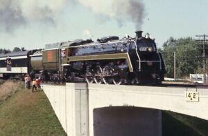 CANADIAN-NATIONAL-Railroad-Steam-Locomotive-6060-Original-1973-Photo-Slide