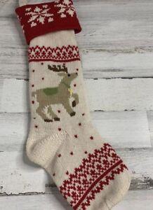 Pottery-Barn-Kids-Knit-Fair-Isle-Christmas-Stocking-Reindeer-Wool-White