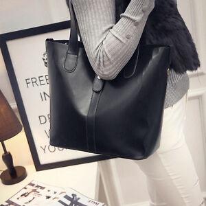 Stylish-Women-039-s-Simple-Handbag-Leather-Tote-Purse-Shoulder-Large-Bag-Satchel
