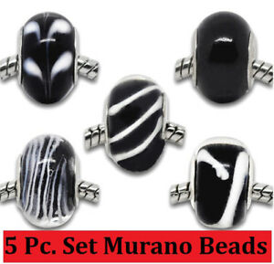 5 Pc Set Sterling Silver Authentic Black Murano Glass Lampwork Beads + GiftPkg