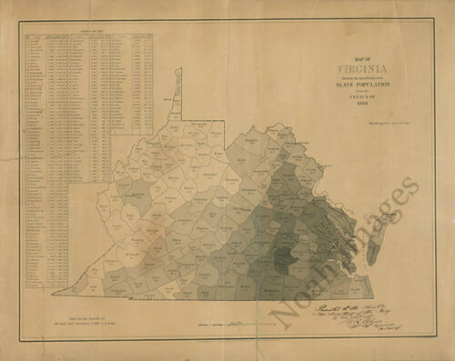 Map of Virginia showing slave population c1860 25x20