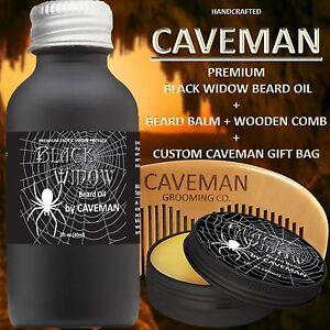 Hand-Crafted-Caveman-Beard-Oil-Set-KIT-Beard-Oil-Balm-FREE-Wooden-Beard-Comb