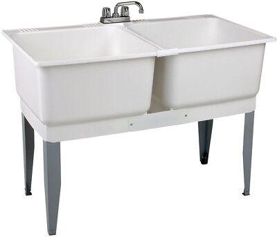 utility sink laundry tub wash basin 46 x 34 in plastic laundry tub steel legs ebay