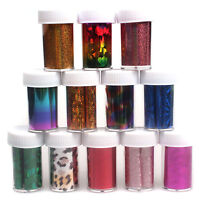 12 Colors Nail Art Transfer Foil Sticker for Nail Tips Decoration Set