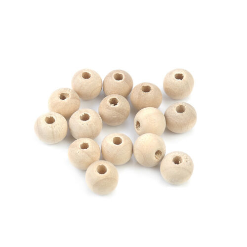 Unpainted Round Wood Spacer Bead DIY Natural Wooden Ball Beads Craft Jewelry New