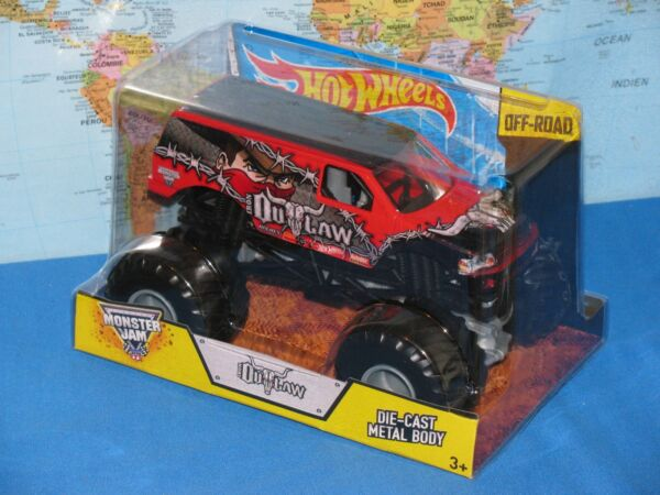 1/24 Hot Wheels Monster Jam Camion Hors-la-loi Hors-piste Moulé Métal Tout Neuf Art De La Broderie Traditionnelle Exquise