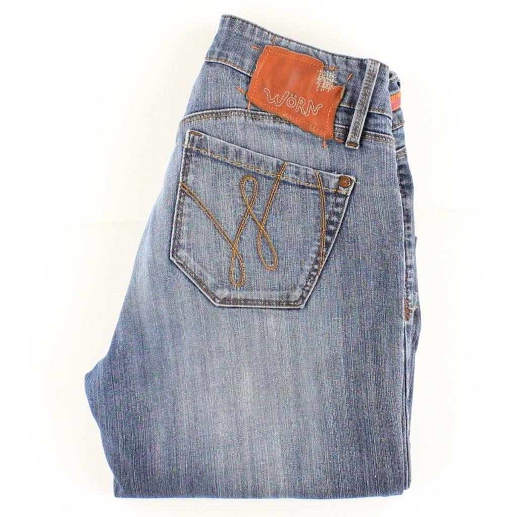 WORN Jeans Women Low Rise Zip Fly Straight Leg Size 4