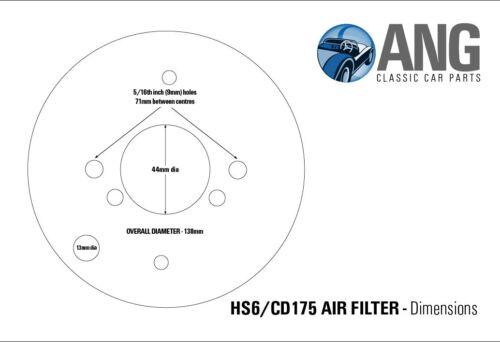 "1 ¾/"" SU PANCAKE AIR FILTER /& GASKET TRIUMPH TR7 STAINLESS STEEL HS6"