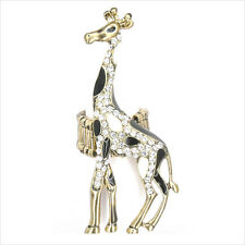 "Giraffe Costume Jewelry Animal Cocktail Rings Black Crystal Clear 2.7"" Gold Tone"
