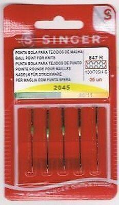 Genuine Singer Ballpoint Needles Assorted Sizes - 5 Needles Per Pack
