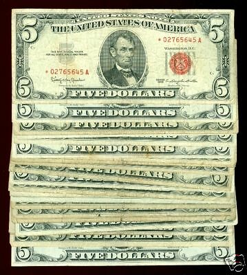 25 1953 1963 $5 RED SEAL w//star note Abraham Lincoln