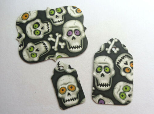 "Halloween Silly Skulls Chipboard Alphabet Letter 67 pcs 1.5/"" stickers Mat Tags"