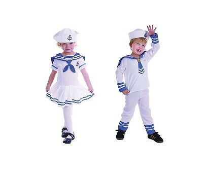 CUTE SAILOR BOY #AND GIRL TODDLER COMPLETE OUTFITS MILITARY FANCY DRESS