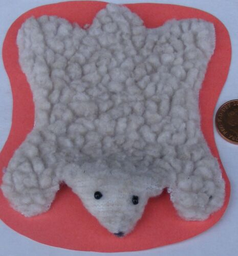1:12 Scale Handmade Faux Bear Skin Rug Tumdee Dolls House Carpet Accessory F