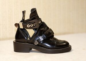 1500$ BALENCIAGA Ceinture black leather cut out chunky combat boots 36-36.5 us6
