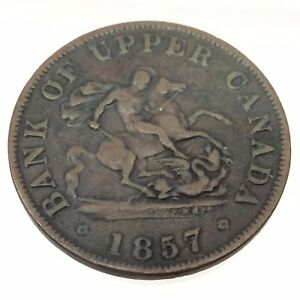 1857-Bank-of-Upper-Canada-One-1-Half-1-2-Penny-Token-Copper-Canadian-Coin-B528
