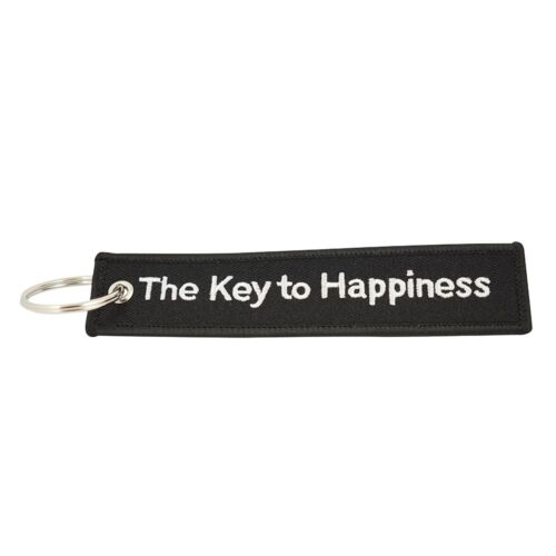 MonkeyEAT The Key To Happiness Black Keychain