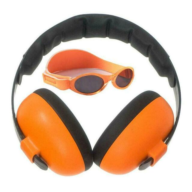 2pc Banz Careware Baby/Kids Sunglasses/Earmuff Ear Protection Mini Combo Orange