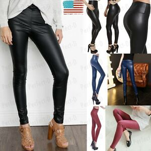 Womens-High-Waist-Slim-Stretch-Wet-Faux-Leather-Skinny-Tight-Pants-Leggings-UD