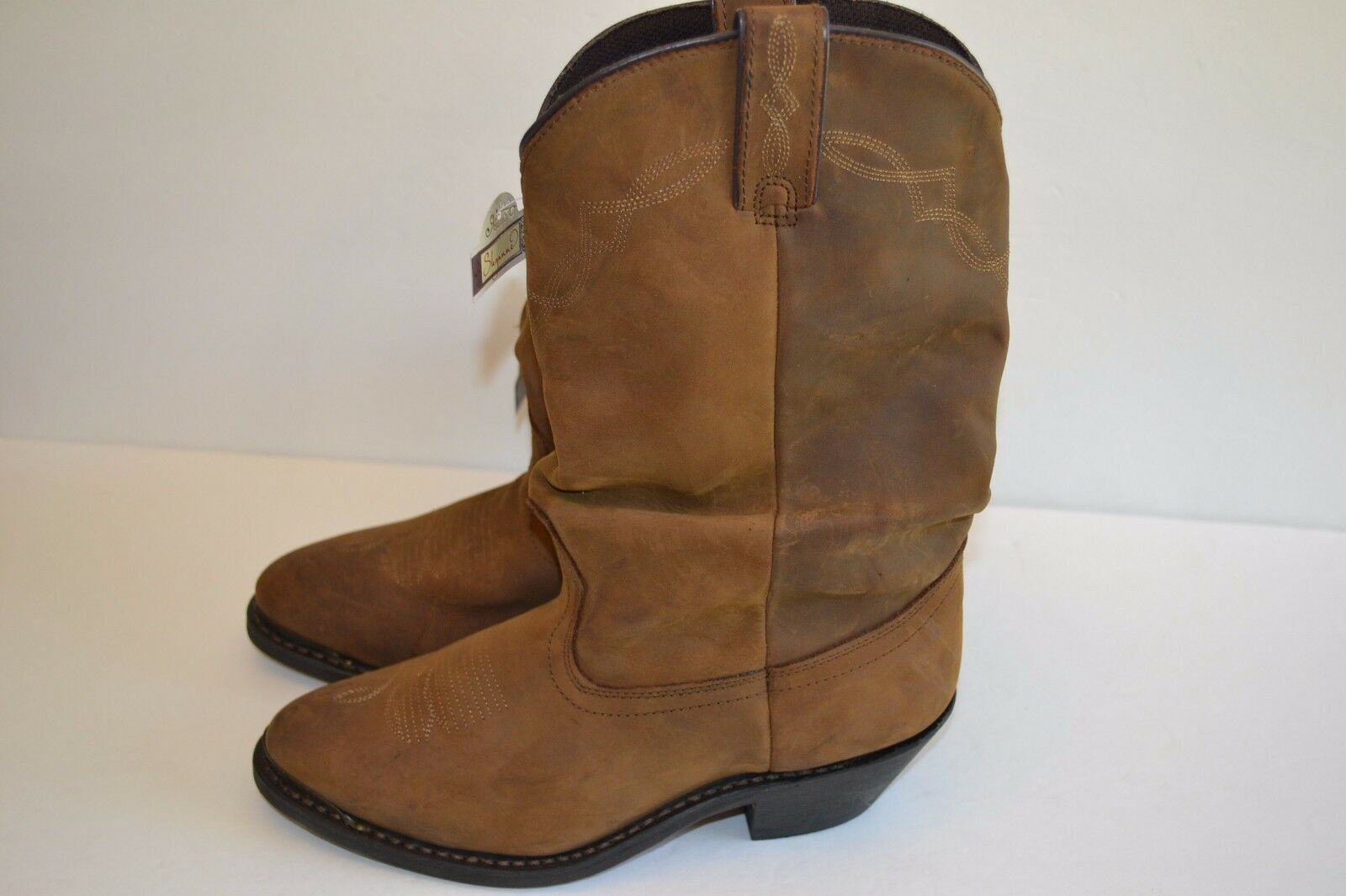 SHYANNE WOMENS Slouch FASHION BROWN Western Distressed Leather Boots SZ 7.5 M